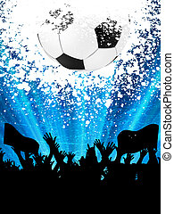 Soccer ball with silhouettes of fans. EPS 8