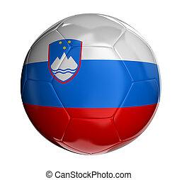Soccer ball with Slovene flag. 3d render.