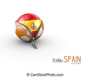 Soccer ball with Spain flag isolated on white background. 3d Illustration