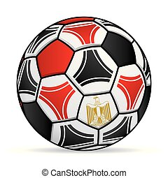 Soccer ball with the colors of the flag of Egypt. Vector image