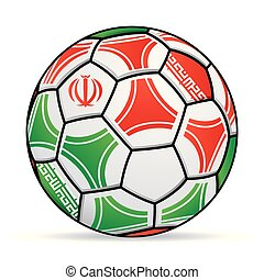 Soccer ball with the colors of the Iran flag. Vector image