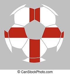 Soccer ball with the flag of Englan