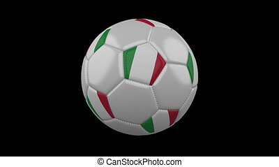 Soccer ball with the flag of Italy, 4k prores footage with alpha channel, loop