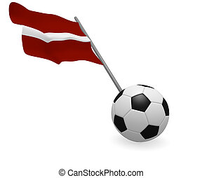 Soccer ball with the flag of Latvia