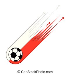 Soccer ball with the flag of Poland