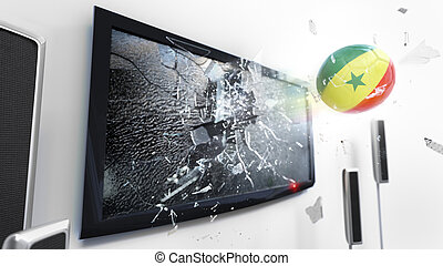 Soccer ball with the flag of Senegal kicked through a shattering tv screen.(3D rendering series)