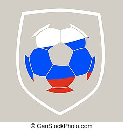 Soccer ball with the Russian flag