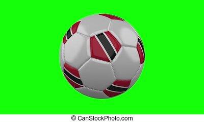 Soccer ball with Trinidad and Tobago flag on green chroma key, loop