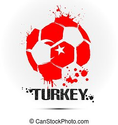 Soccer ball with Turkey national flag colors