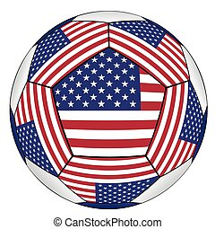 Soccer ball with United States flag isolated on white...