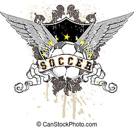 soccer ball with wings, a shield in the background with...