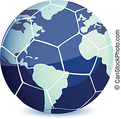 soccer ball with world map isolated over a white background