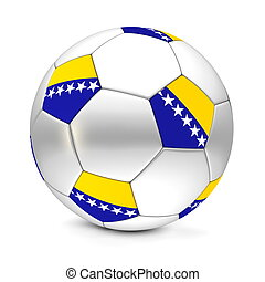 shiny football/soccer ball with the flag of Bosnia And Herzegovina on the pentagons