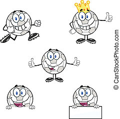 Soccer Balls 4 Set Collection - Soccer Balls Cartoon Mascot...