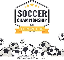 Soccer balls background. - Vector template for Europe 2016...