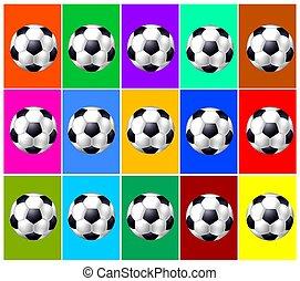 soccer balls collage background