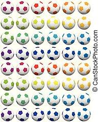Soccer Balls Colorful Background
