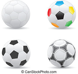 Soccer balls - Different soccer balls isolated on the white...
