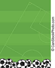 soccer balls field background - soccer balls border on green...