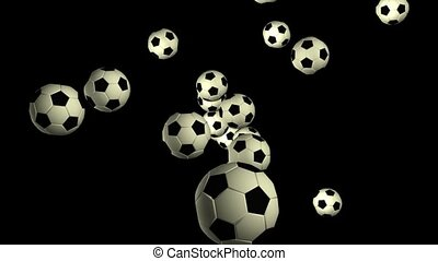 Soccer Balls Flying Through Space