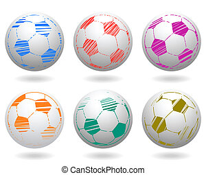 Soccer Balls Icon Set - vector