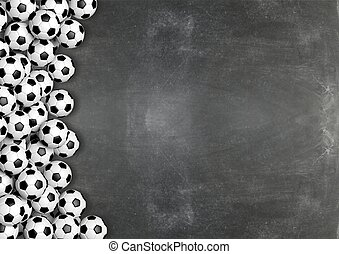 Soccer balls on chalkboard background with copy-space.3D rendering