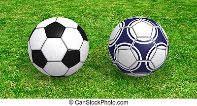 Soccer balls on grass