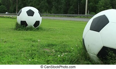 Soccer balls on green lawn near  road