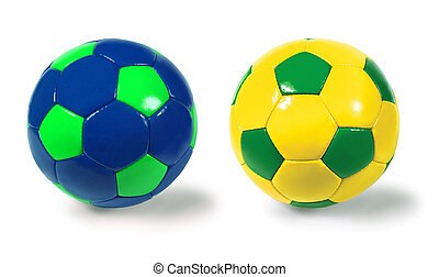 Soccer balls - Two isolated soccer balls - different colour...
