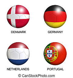 soccer balls with european flags of group B euro 2012 over...