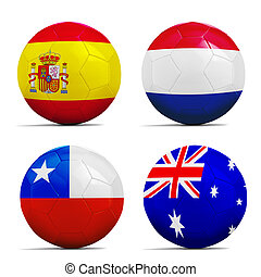 Soccer balls with group B teams flags, Football Brazil 2014.