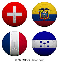 soccer balls with group E teams flags, Football Brazil 2014. isolated on white