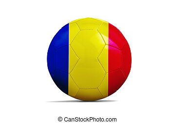 Soccer balls with team flags, Euro 2016. Group A, Romania