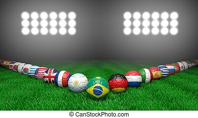 Soccer balls with various countries flags on grass