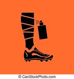 Soccer bandaged leg with aerosol anesthetic icon. Orange...
