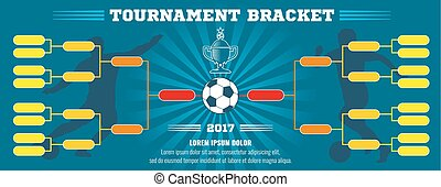 Soccer banner, European football tournament bracket with ball. Vector template
