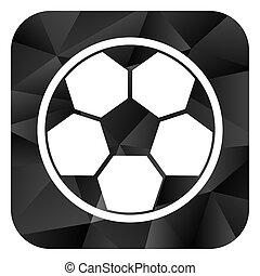 Soccer black color web modern brillant design square internet icon on white background.