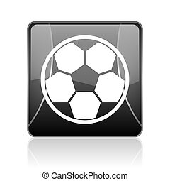 soccer black square web glossy icon