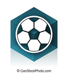 soccer blue cube icon, modern design web element