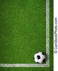 soccer bold, indramm, af, hvid, mærkning, linjer, top, udsigter., sport, baggrund.