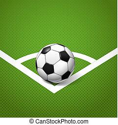 soccer bold, liggende, på, den, hjørne, i, den, boldspil,...