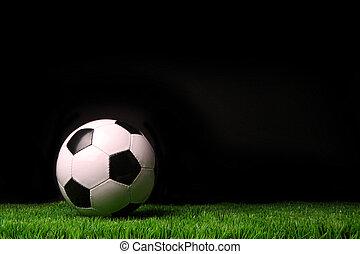 soccer bold, på, græs, imod, sort