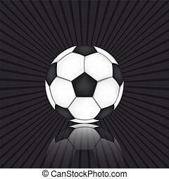soccer bold, på, sort baggrund