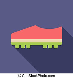 Soccer boots icon on background with round shadow. Vector illustration.