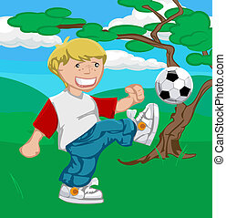 soccer boy illustration