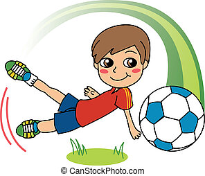 Soccer Boy - Cute little boy happy playing soccer and...