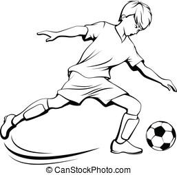 Soccer Boy Kicking - Black and white illustration of a boy...