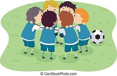 Soccer Boys - Illustration of Little Boys in a Soccer Game...
