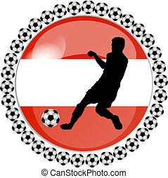 soccer button austria - illustration of a soccer button...