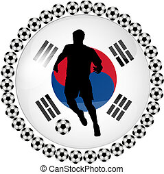 soccer button south korea - illustration of a soccer button...